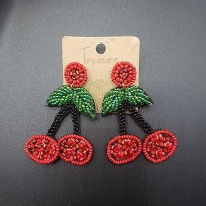 Beaded cherries earrings - pierced